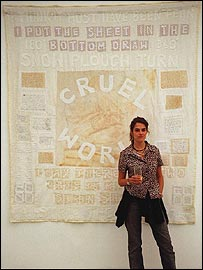 Tracey Emin with her sheet, I Think It Must Have Been Fear