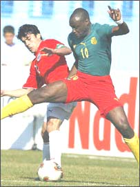Cameroon's Patrick Mboma in action