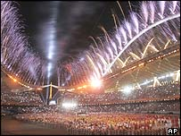 The closing ceremony at the Athens Olymics