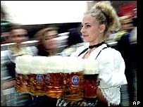 Waitress serving German beer