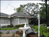 A hurricane damaged house