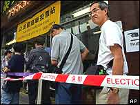 Voters queue in Hong Kong