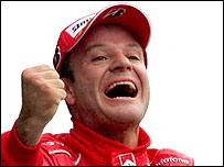 Rubens Barrichello celebrates his triumph in Italy