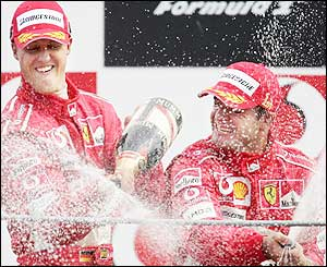 It's champagne all round as the Ferrari team have a lot to celebrate after the Italian Grand Prix