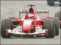 Rubens Barrichello leads his Ferrari home to victory in Monza