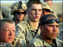 US marines at a briefing outside Falluja