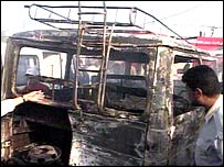 Charred vehicle in Basra blast