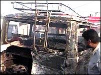 Charred vehicle in Basra blast