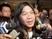 Veteran activist Leung Kwok Hung, otherwise known as Long Hair, after winning his LegCo seat