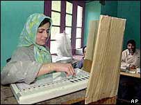 A Kashmiri woman casts her vote near Srinagar