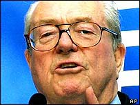 Jean-Marie Le Pen, leader of the French National Party