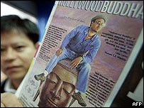Poster of Hollywood Buddha that has offended Buddhist monks in Thailand and Sri Lanka