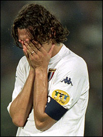 Despair for Paolo Maldini after Italy's defeat to France in the Euro 2000 final