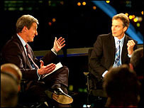 Newsnight's Jeremy Paxman interviewing UK prime minister Tony Blair