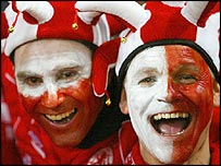 Middlesbrough fans with painted faces