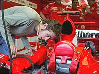 Valentino Rossi checks out the cockpit of a Formula One Ferrari in Melbourne last March