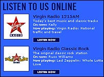 Virgin Radio's website, which provides broadband-quality online streams