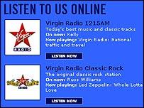 Virgin Radio's website, which provides broadband-quality online streams