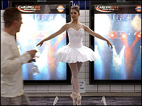 Ballerina Begona Cao at Leicester Square station