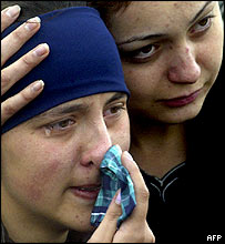 Mourners in Beslan