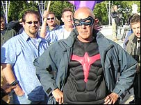 Activist Dave Pyke in superhero outfit