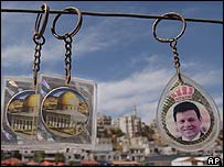 Key ring with a photo of Jordan's King Abdullah and the al-Aqsa Mosque on sale in Amman, Jordan