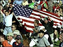 US fans celebrate victory in the last Ryder Cup