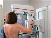 Woman being screened for breast cancer