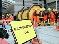 Decontamination zone in the film
