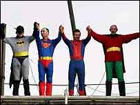 Members of the pressure group Fathers 4 Justice - dressed as superheroes - protest on top of the Clifton Suspension Bridge