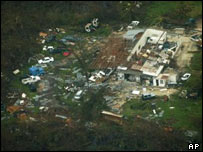 Aerial view of the Caymans after Hurricane Ivan