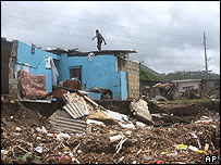 Destruction in Jamaica caused by Hurricane Ivan