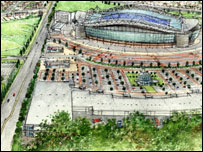 Artist's impression of the new Cardiff stadium