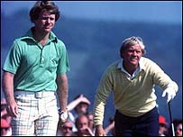 Tom Watson (left) and Jack Nicklaus fought out the