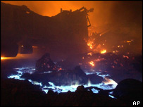 Wreckage burns after a train crash in Iran in 2004