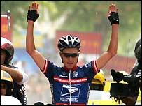 David Zabriskie celebrates victory