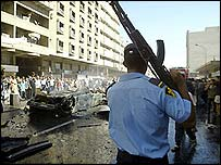 Iraqi policeman at site of bombing