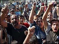 Angry crowds in Baghdad