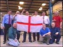 Workers at the Sandblaster Ltd factory