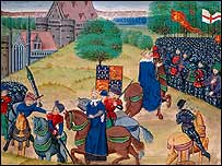 A medieval image shows the Peasants' Revolt being quashed at Smithfield.  By permission of the British Library.
