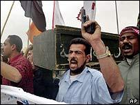 Iraqis at a demonstration in Basra