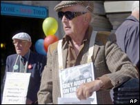 Pensioner protesting in London