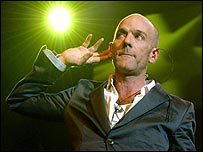 Michael Stipe on stage at London's Hammersmith Apollo on Tuesday