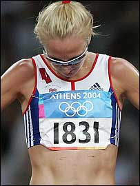 Radcliffe shows her disappointment after dropping out of the 10,000m