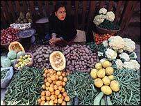 Market seller in Kathmandu, Nepal