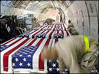 Coffins of US soldiers at Kuwait International Airport (image released by US Air Force and posted on a website)