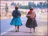 Peruvian women at a roadside