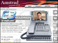 Screengrab of Amstrad homepage, Amstrad