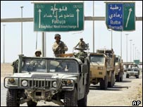 US forces at a roadblock on main road into Falluja