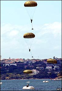 Special forces commandos parachute into Sydney Harbour during a recruitment drive by the Australian Defence Force